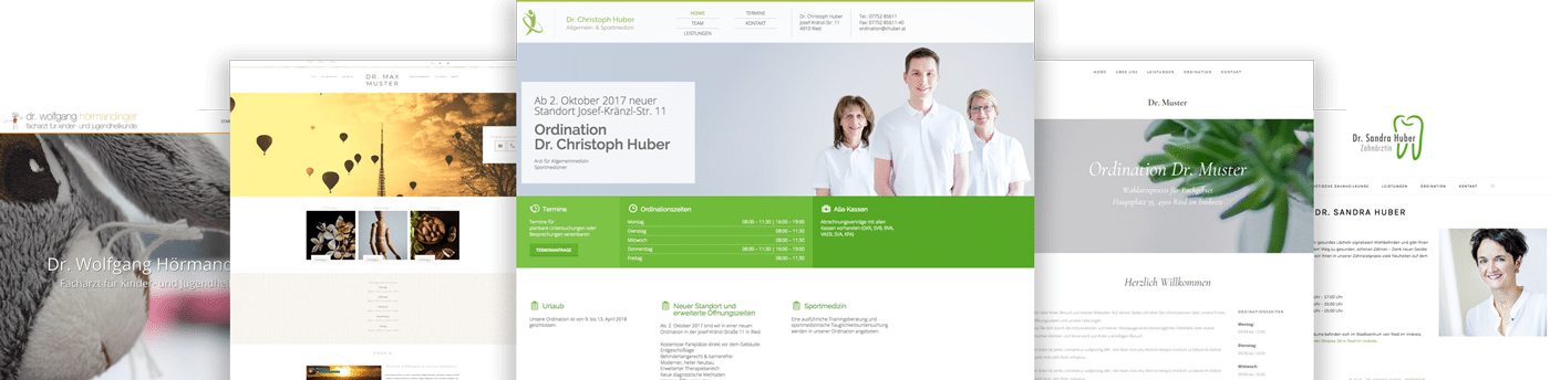 Screenshots verschieder Webseitendesigns
